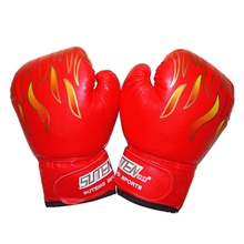 3 Colors Professional Children Flame Mesh Sanda Palm Boxing Sports Training Breathable PU Leather Flame Gloves