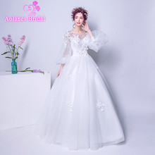Buy 2018 Cheap Ivory Tulle Wedding Dresses O-neck Floor-length Lace Ball Gown Puff Sleeve Princess Bride Gown Vestido De Noiva for $132.05 in AliExpress store