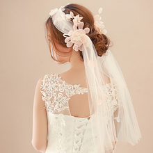 Romantic Bridal Lace Flower Veils Headband for Women Cathedral Wedding Hair Accessories Veil Velos de novia High Quality SG458