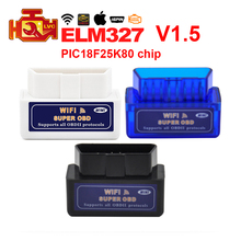 Super Mini ELM327 Bluetooth/Wifi V1.5 PIC18F25K80 chip OBD2 scanner ELM 327 Bluetooth ELM327 WIFI Android/IOS OBDII Code Reader