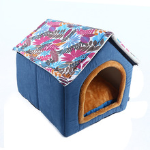 Fine joy New Pet Product Home Shape Pets Kennel Nests With Soft Velvet Bed Sofa Mat Folded Pets House For Animals Cat Dog Pads(China)