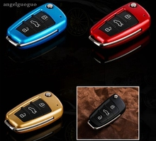 ABS Folding key cover ,key shell for audi a3 8P 8V a4 B7 B8 a6 C6 a8 tt q7 Q3 Q5 s6 s3 s4 car accessories styling