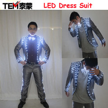 Free Shipping New Arrived LED Dress Suit (jacket + pants + tie) Costume Led Light Suit / Light suits / Luminous Clothing(China)