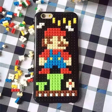 ZUCZUG Cartoon Bricks Case for iPhone 7 6 6S Plus Legos Cover Marios Pixels Style Funny Bricks Super Marios Cute Minions