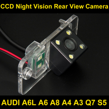 Waterproof 4 LED Car Rear view Camera BackUp Reverse Parking Camera for AUDI A6L A6 A8 A4 A3 Q7 S5 Car reverse camera 8036LED(China)