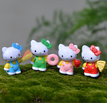 4pcs Kawaii Hello Kitty Figurines Resin Crafts Fairy Garden Miniatures Bonsai Tools Terrarium Micro Landscape Gnomes Home Decor