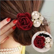 1pcs Hair Rope Jewelry Girl Rubber Hair Band Ring Elastic Flower Pearls Headdress For Women Hairbands Hairwear ZA059(China)