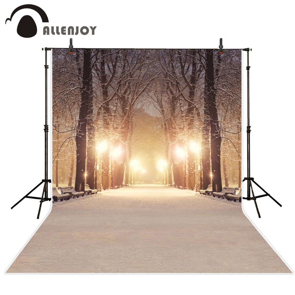 Allenjoy photo backdrop winter night snow path glitter background newborn photocall photobooth customize fabric<br>