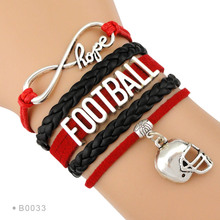 (10 PCS/lot) Infinity Love Football Bracelets Football Player Football Mom Cheerleader Heart Bracelets Gift for Football Fans