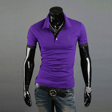 Men Casual Tops Tee V Neck Solid Polo Shirts Slim Fit Short Sleeve Summer Style New Sale