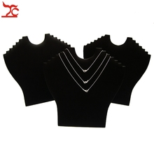 Wholesale 10pcs Jewelry Display Findings Folding Necklace Pendant Stand Holder Black Velvet Easel Props(China)