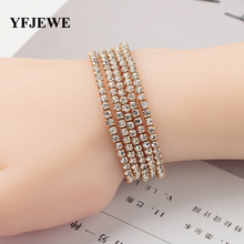 YFJEWE 5 Pcs Top Crystal Elasticity Wrap Bracelets for Women Silver Color Bridal Wedding Bangle Jewelry Gift Hot Sale B132(China)