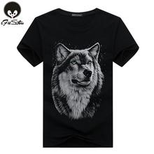 Brand T shirt Men Hot Selling 2016 Summer Style New 3D Printed Wolf Mens T shirt  Cotton Casual Brand T-shirt Plus Size M-5XL