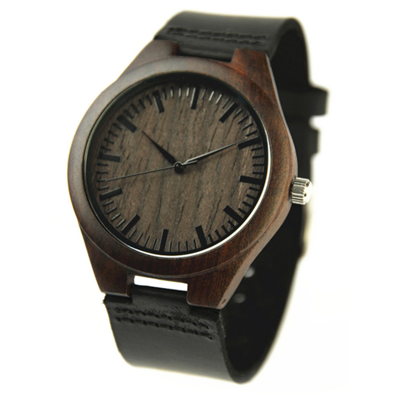 Wooden Watches Quartz Watch Men 2017 Bamboo Modern Wristwatch Analog Nature Wood Fashion Soft Leather Creative Birthday Gifts<br>