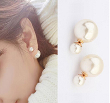 2016 Summer Style Earrings Fine Pearl Jewelry Women Fashion  Gold Color Double Side White Pearl Stud Earrings For Lady