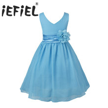 iEFiEL Kids Flower Girls Dress Party Vestido Wedding Princess Floral Bridesmaid Vestido Pageant Ball Gown Dress For Formal Party(China)