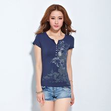 Plus Size Women Clothing In Ethnic Style V-neck Printed Casual Tops Korean Slim Fit T-shirt Fashion Tee Shirt Femme Hot Sale 3XL