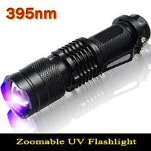 395nm  UV Flashlight Powerful LED Flashlight UV LightTactical Flashlight Purple Violet Light UV torch Lamp free shipping