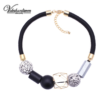 Vodeshanliwen 2017 New Arrival Wood Beads Za Choker Necklace Women Collar Statement Necklace DIY fashion Collier wholesale()