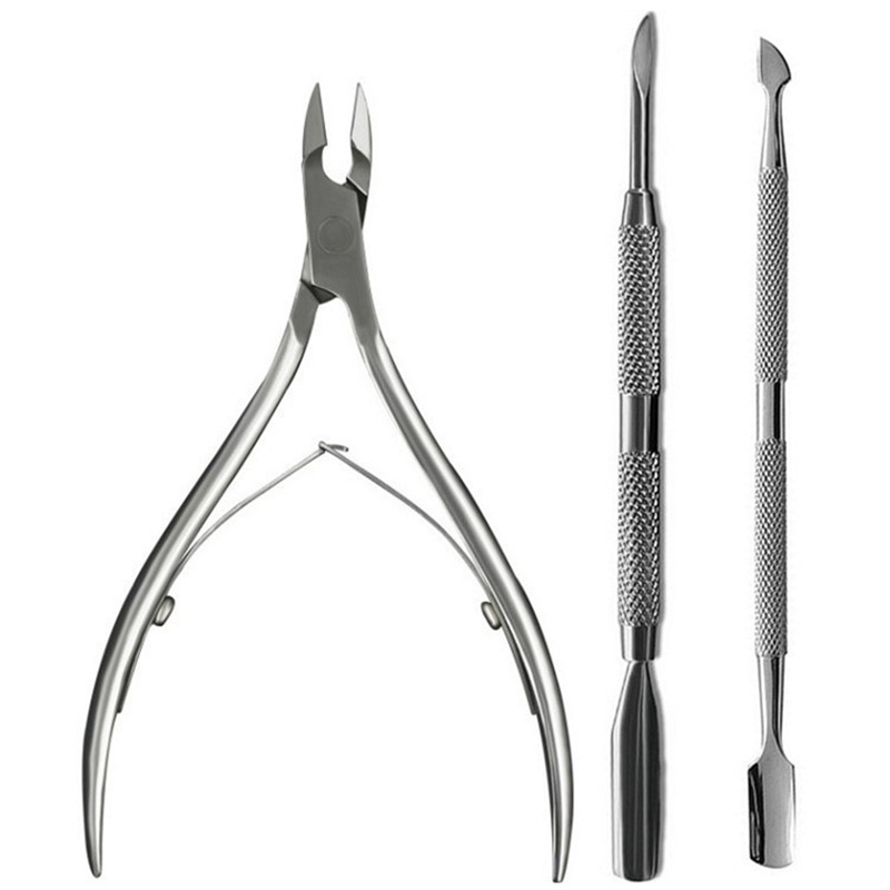 3Pcs-set-Stainless-Steel-Nail-Cuticle-Pusher-Spoon-Remover-Cutter-Nipper-Clipper-Nail-Scissors-Nail-Art