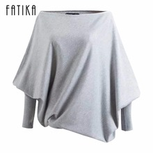 FATIKA 2017 New Fashion Women Sweaters And Pullovers Ladies Batwing Sleeve Slash Neck Knitted Sweaters Casual Loose Jumper Tops(China)