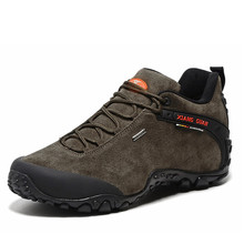 Latest XiangGuan Men New Outdoor Hiking shoes Suede Leather Sports Shoes Hiking Shoes Anti-Slip Mountain Mid Boots size 39-45