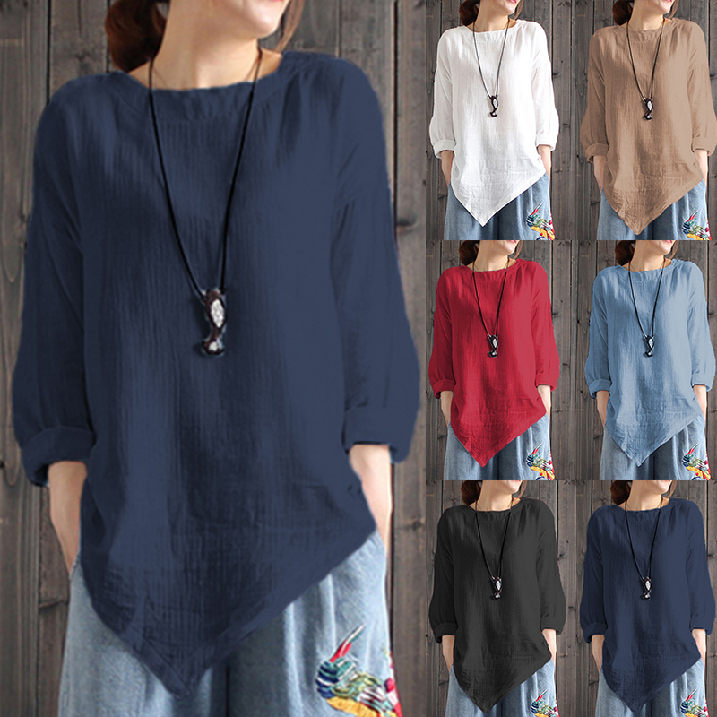 6e83c93271c Product Description  Womens Cotton Linen Round Neck Long Sleeve Irregular  Hem Loose Tops Package Included  1 Top