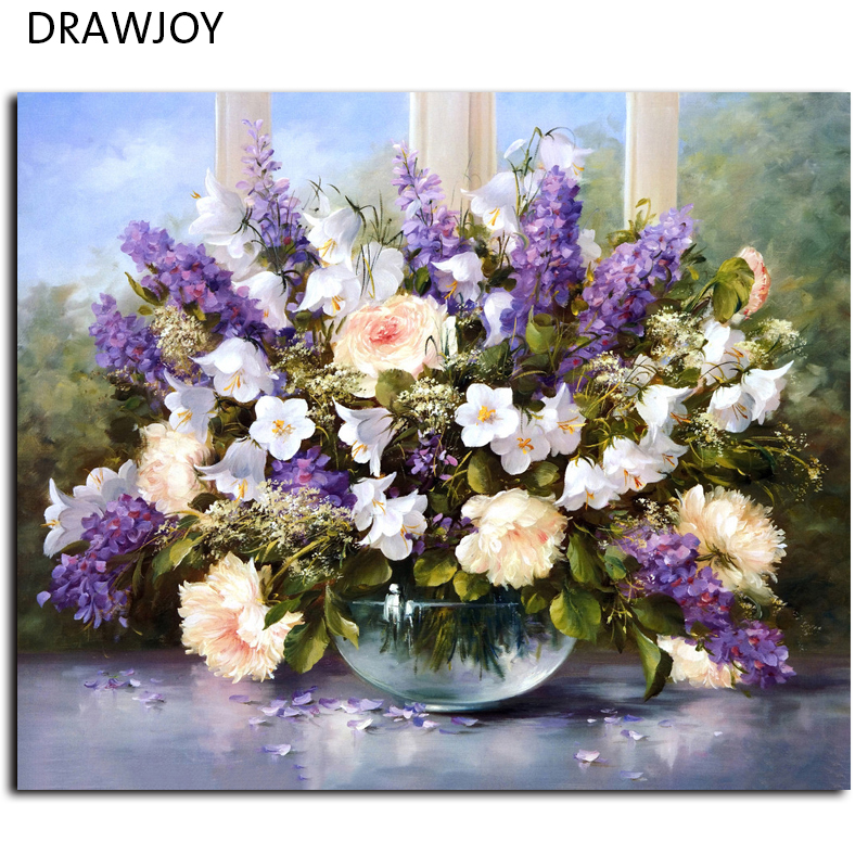 DRAWJOY Framed Picture Painting By Numbers Modern Flower Home Decor For Living Room Hand Unique Gifts G053 Picture Wall Art(China (Mainland))