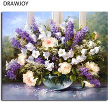DRAWJOY Framed Picture Painting By Numbers Modern Flower Home Decor For Living Room Hand Unique Gifts G053 Picture Wall Art(China)