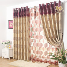 Life Tree Window Curtains(blackout 150*270cm*2pcs + tulle 300*263*1pc) Double jacquard Cortina for bedroom customizable coffee