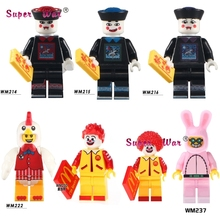 1PCS Zombie Halloween Chicken Guy Ronald McDonald Cute Rabbit Funny Bunny Figures building blocks toys for children kits(China)