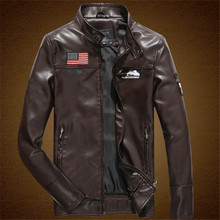 Military men leather jacket 2016 fashion stand collar motorcycle leather clothing men's leather jacket male outerwear