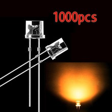 1000pcs 5mm Orange 2Pins Flat top DIP LED Diodes Clear Super Bright Wide Angle LED Light
