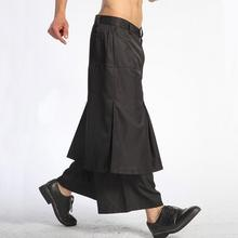 Spring and summer Europe and the United States large size personality black fake two-piece wide leg pants black trousers / 29-40