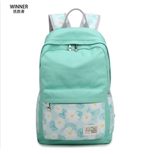 Winner New 2017 Printing Daisy Backpack Bagpack Canvas Women Bags Flower Backpacks Girl Fresh Bag Floral Kids School Bags Blue