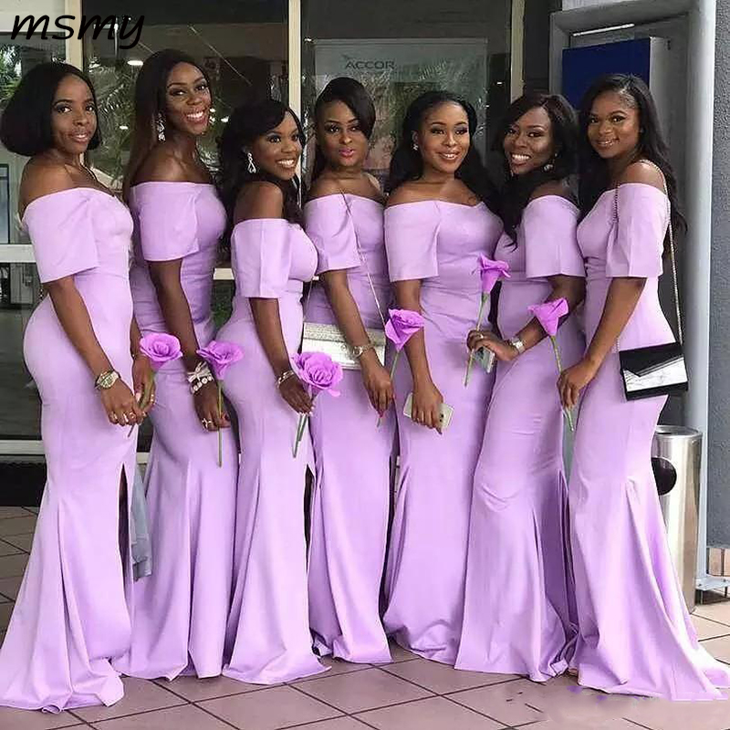 Bridesmaid-Dresses Lavender Satin Mermaid Wedding Off-The-Shoulder African Cheap Sweep title=