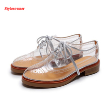 Stylesowner 2017 Newest Clear Transparent PVC Bullock shoes Fashion Lace-up Loafers Hollow out Women Shoes Casual Summer Shoe