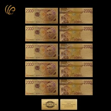 Wholesale Italy Colorful Gold Banknote 2000 Lires Gold Plated Paper Money with Certificate Card for Souvenirs