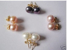 A LOT 4PAIR 8-9MM FRESHWATER PEARL EARRINGS STUD(China)