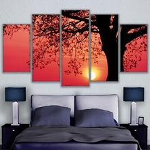 Canvas Paintings Home Decor Wall Art Frame 5 Pieces Impressive Tree Whirling Sunset Nature Landscape Posters HD Prints Pictures(China)