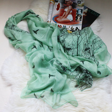 [SLKSCF] 200X135CM Elegant Silk chiffon scarf solid color silk scarves real silk hijabs pashmina natural silk facecloth female