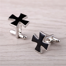 J Store Black Cross Cufflinks For Men French Shirt Male Novelty Design Zinc Alloy Cuff Link Fashion Jewelry(China)