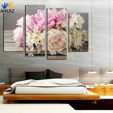 4 Piece Colorful flowers Painting By Numbers Home Decor Contemporary Art Canvas Prints Modular Pictures Free Shipping F18856(China)