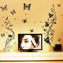 AY9124 Black Butterfly Flower rattan DIY Removable Wall Stickers Living Room TV/Sofa Background Wall Stickers Mural Decal(China)