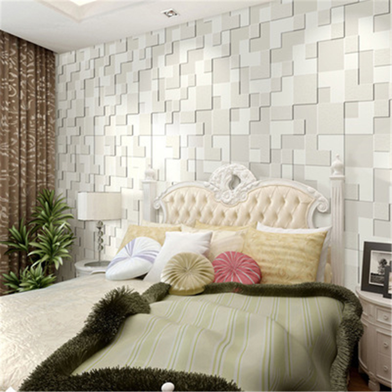 Modern minimalist mosaic non-woven wallpaper three-dimensional geometry bedroom living room backdrop flocking wall paper.<br><br>Aliexpress