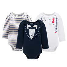 KAVKAS 3pcs/set Baby Boys Clothes Winter Baby Christmas Wear 100% Cotton Body Long Sleeve Newborn Baby Boy Clothes(China)
