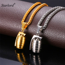Cool Grenade Shape Pendant & Necklace American Style Stainless Steel/Gold Color Chain For Men Punk Jewelry GP1890(China)