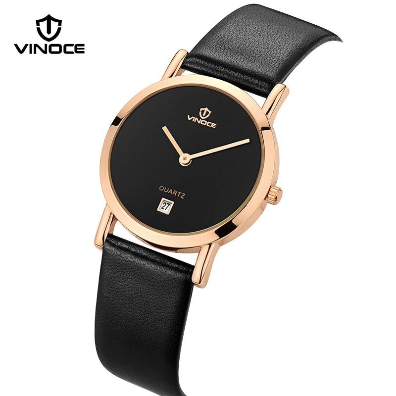 VINOCE Watches Women Black Genuine Leather Strap Montre Femme Simple Quartz Clock Women Fashion Watches 2017 Relogio Feminino<br>