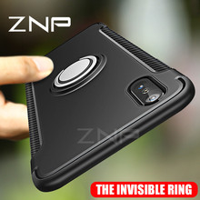 ZNP Luxury Shockproof Case For Apple iphone X 10 Case Metal Ring Holder Combo Phone Cover For iphone X 10 Case(China)