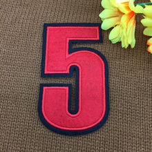 retail ~ 1pcs Footballer Polo Shirt red No.5 Number Badge Patches iron on Fabrics Clothes bag Appliques DIY accessory(China)